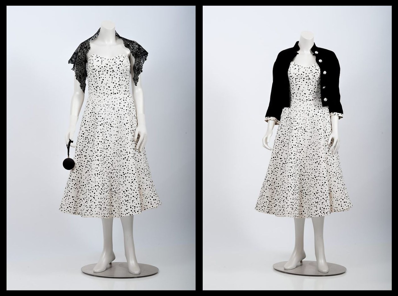 white polka-dot strapless day dress with matching velvet jacket