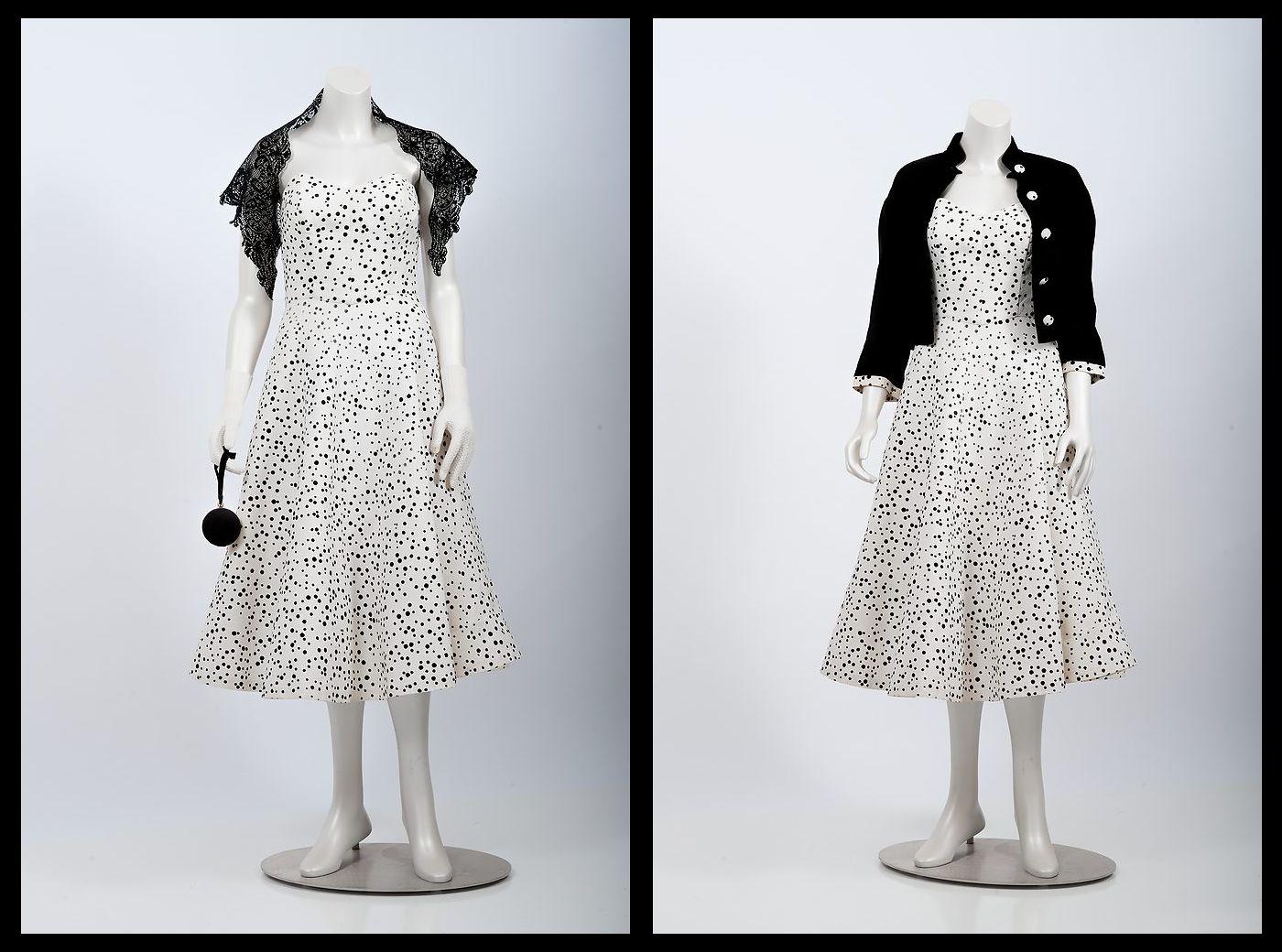 white polka-dot strapless day dress with matching velvet jacket