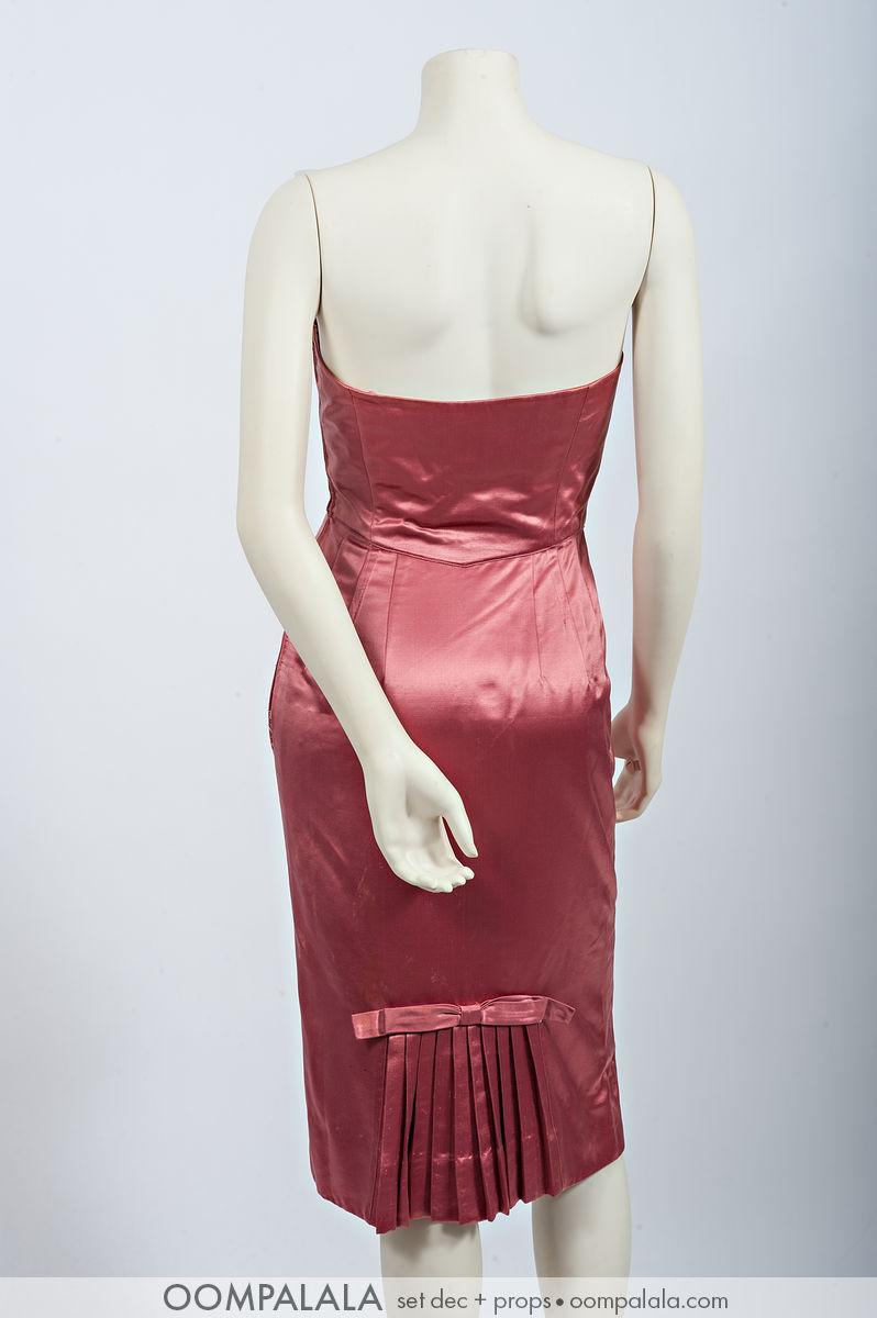 "pink silk satin strapless cocktail ""wiggle"" dress, back 7352"