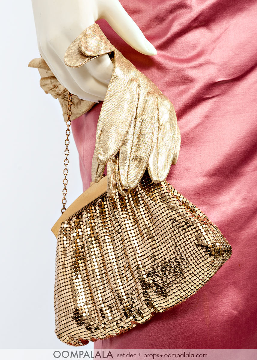 gold lamé gloves and gold mesh Whiting & Davis evening bag, detail 7370
