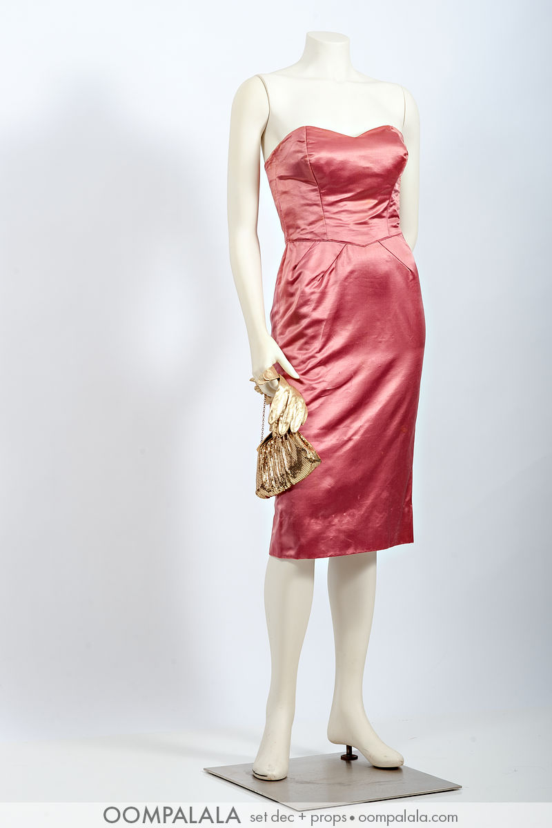 "pink silk satin strapless cocktail ""wiggle"" dress with gold lamé gloves and gold mesh evening bag-7376"