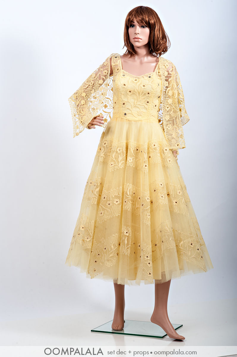 1940s yellow tulle and passamenterie party / formal dress with matching yellow shoulder coverup