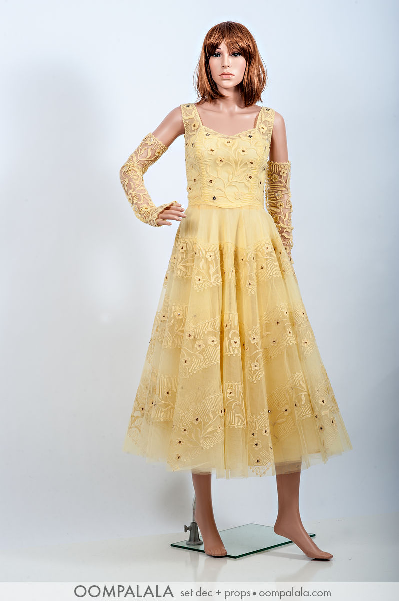 yellow tulle and passamenterie party / formal dress with matching fingerless gloves