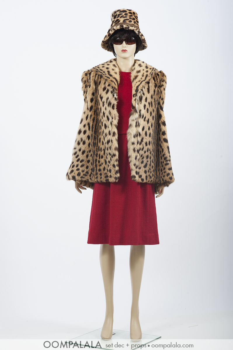 red wool sleeveless dress with spotted cat coat and hat