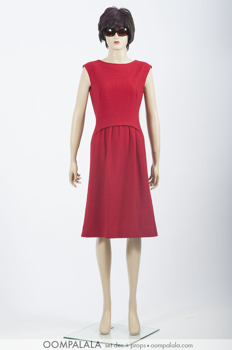 red wool sleeveless dress
