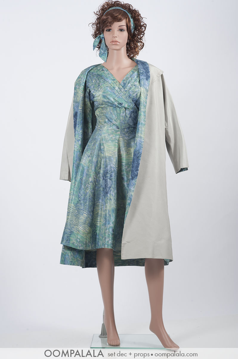 blue watered silk dress with matching underlined coat