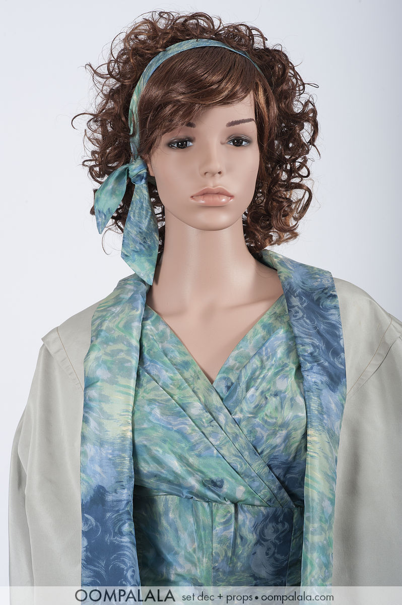 blue watered silk dress with matching underlined coat detail