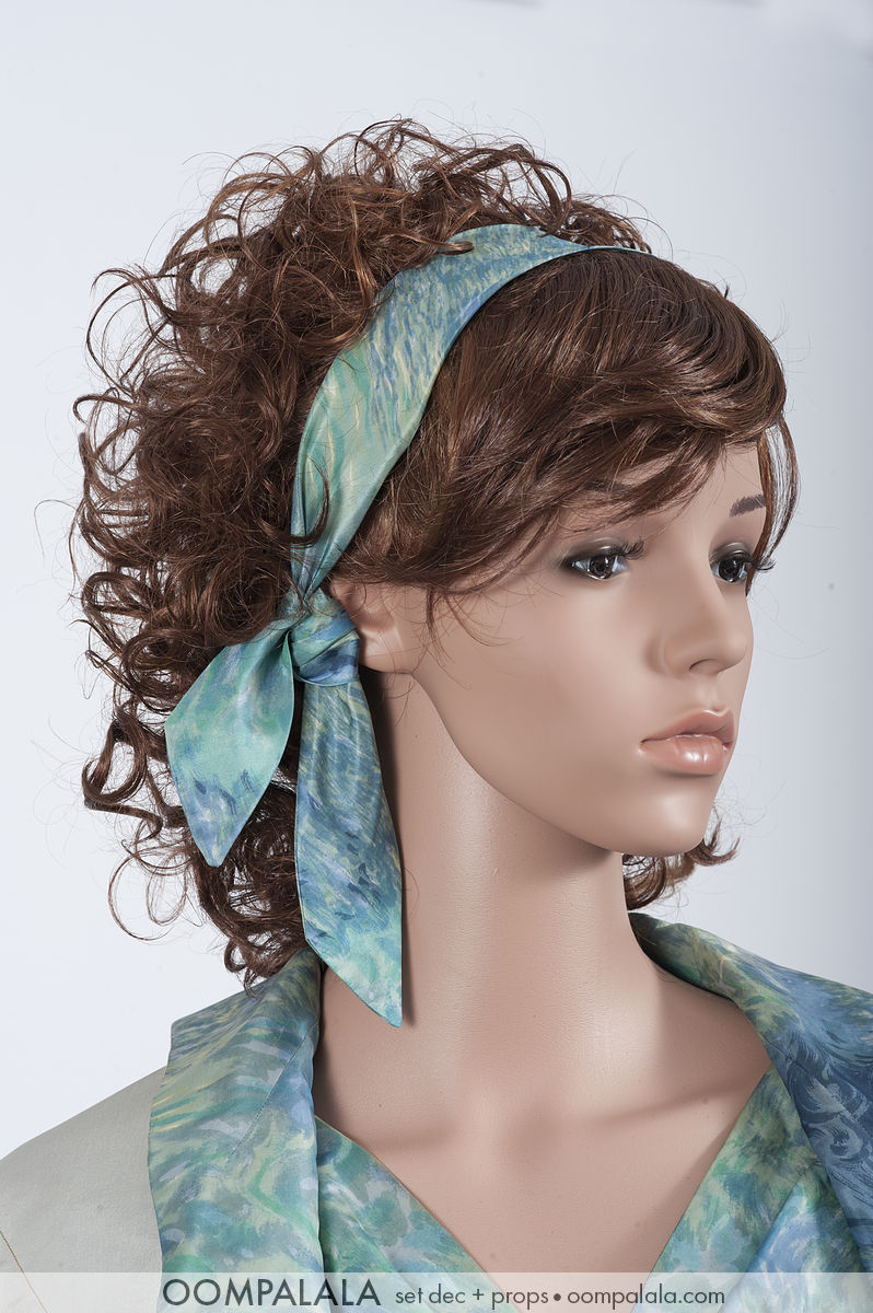 blue watered silk dress with matching headband