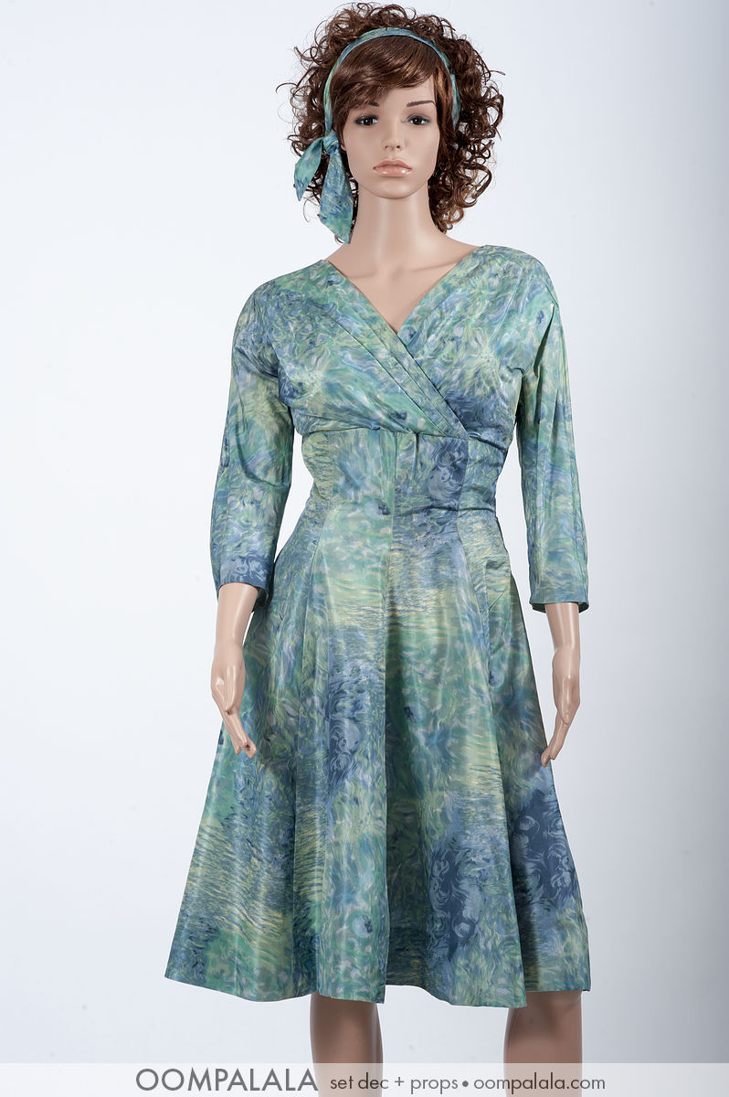blue watered silk dress