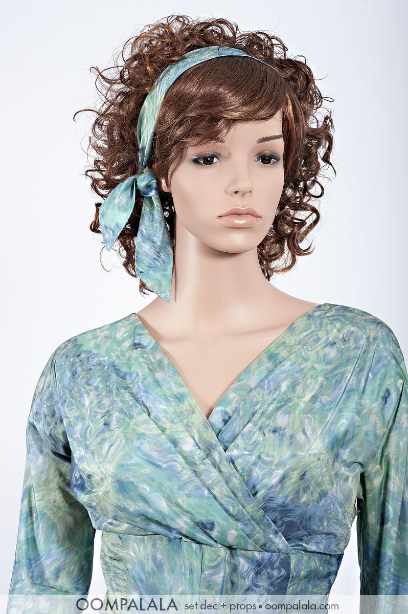 blue watered silk dress