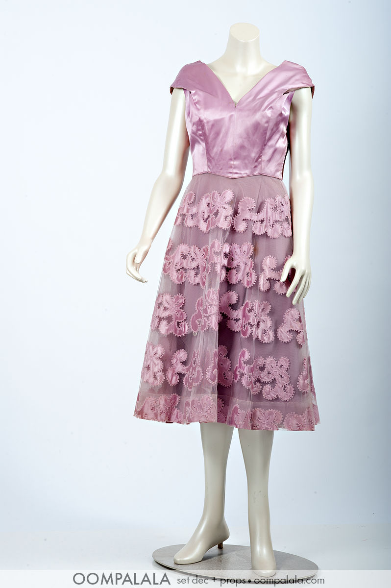 pink knee-length formal / cocktail dress satin top tulle embroidered overlay