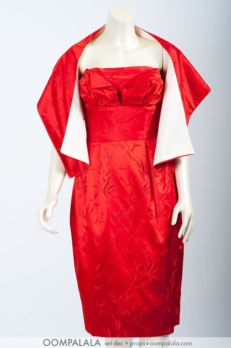 red silk cocktail dress with matching shoulder coverup