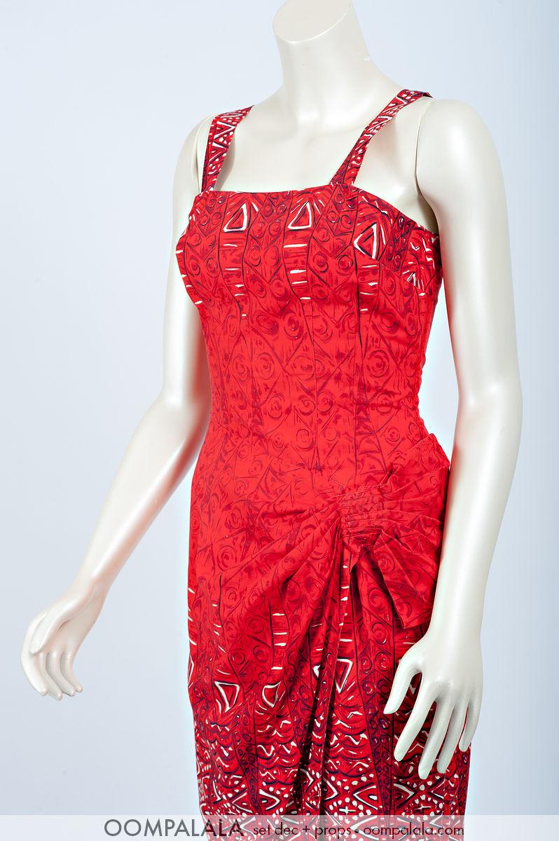 red Hawaiian strapless sarong sundress