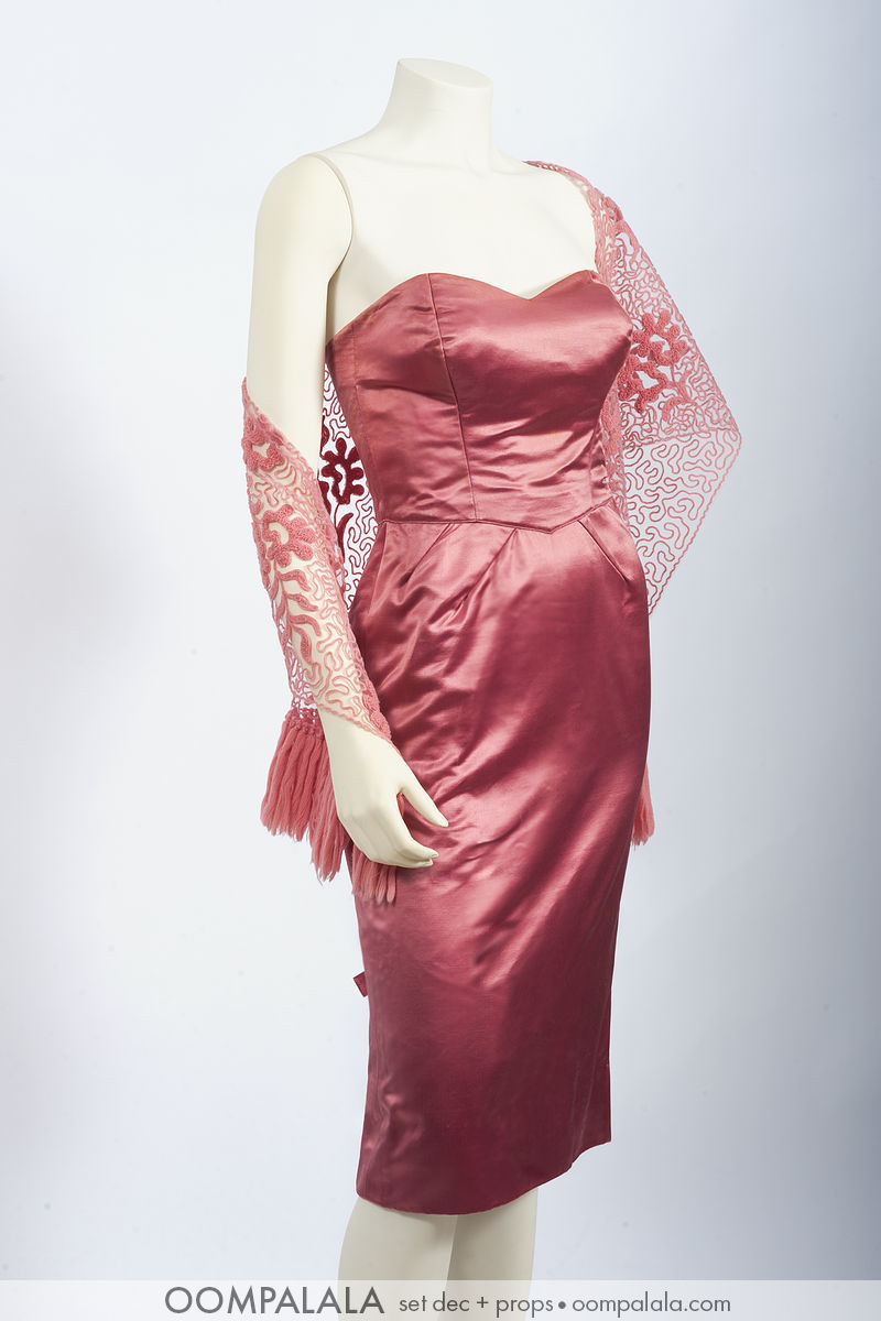 "early 1960s pink silk satin strapless cocktail ""wiggle"" dress with matching embroidered shoulder coverup"